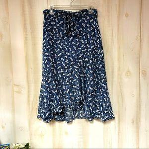 Ann Taylor Floral Asymmetrical Ruffle Midi Skirt